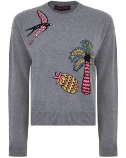 Swallow Embroidered Knit Grey