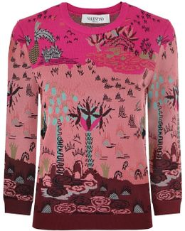 Garden Of Delight Print Knit Top Pink