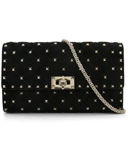 Rockstud Quilted Small Suede Bag Black