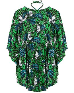 Multi-styling Waterlily Print Top Emerald
