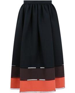 Contrast Stripe Skirt Black/orange/brown