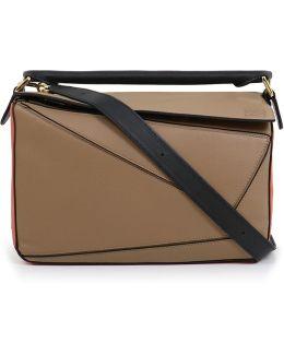 Tri-colour Puzzle Bag Mink/coral/black
