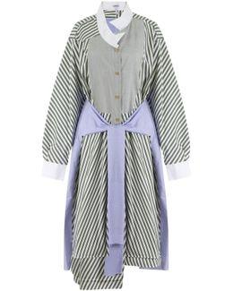 Asymmetric Shirt Dress Khaki/white