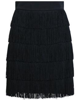 Trish Fringing Mini Skirt Black