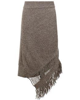 Asymmetric Fringing Rib Knit Skirt Moss