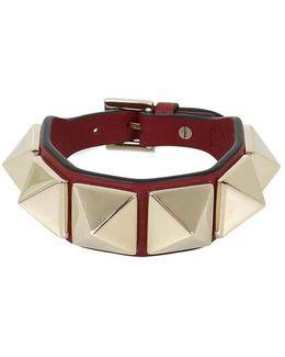 Rockstud Macro Leather Cuff Ruby