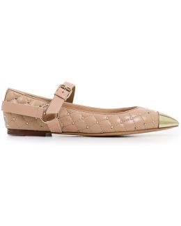 Quilted Spike Ballerina Flat Skin Sorbet