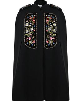 Eugenia Embroidered Cape Black