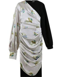 Floral Print Drape Dress Light Grey