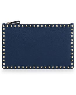 Rockstud Grained Leather Pouch Peacock