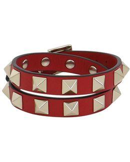Rockstud Wrap Leather Cuff Rosso