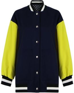 Bomber Letter Jacket Blue/lime