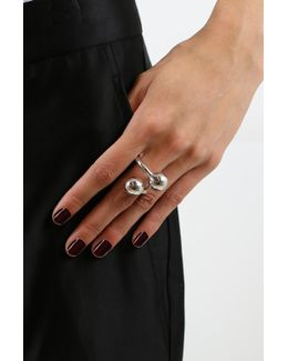 Large Double Ball Ring Silver