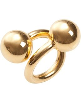Large Double Ball Ring Yellow Gold