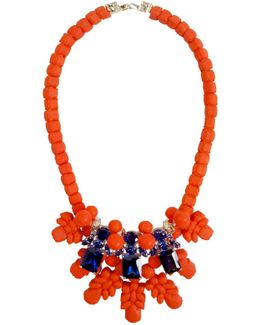 Silicone Three Jewel Neckpiece Salmon/dark Blue Crystals