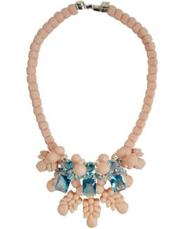 Silicone Three Jewel Neckpiece Beige/aquamarine Crystals