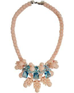 Silicone Three Jewel Neckpiece Beige/aquamarine Crystals