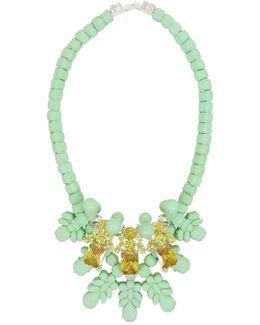 Silicone Three Jewel Neckpiece Mint/citrine Crystals