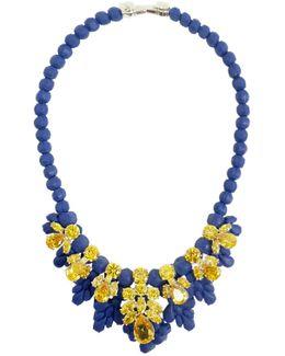 Silicone Seven Jewel Neckpiece Dark Blue/citrine Crystals