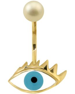 Eye Piercing Earring Gold/turquoise