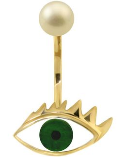 Eye Piercing Earring Gold/green