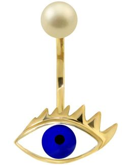 Eye Piercing Earring Gold/blue