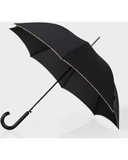 Umbrellas - Black Signature Stripe Trim Walker Umbrella