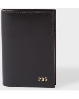 Men's Black Leather Monogrammed Credit Card Wallet