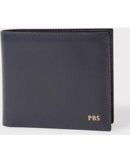 Men's Navy Leather Monogrammed Billfold Wallet