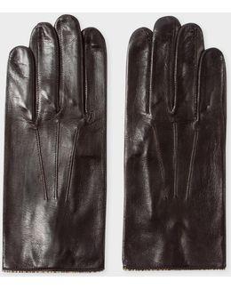 Men's Chocolate Brown Leather Signature Stripe Trim Gloves