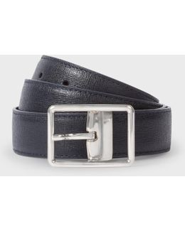 Men's Navy Saffiano Leather Cut-to-fit Reversible Belt