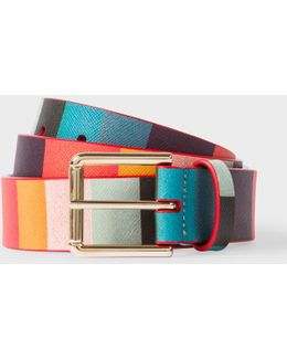 Men's 'artist Stripe' Print Leather Belt