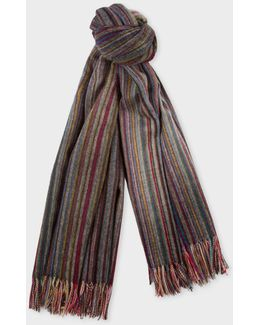 Muted Signature Stripe Wool-cashmere Blanket