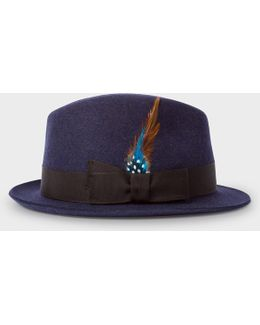 Men's Navy Wool-felt Trilby With Feather
