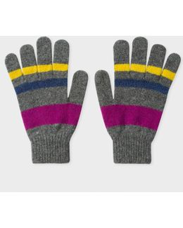Men's Grey Striped Lambswool Gloves