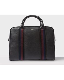 Men's Black Leather 'city Webbing' Folio