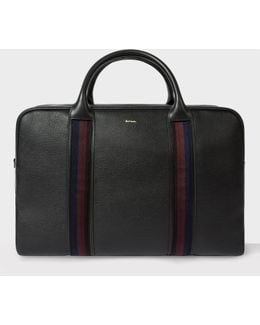 Men's Black Leather 'city Webbing' Holdall