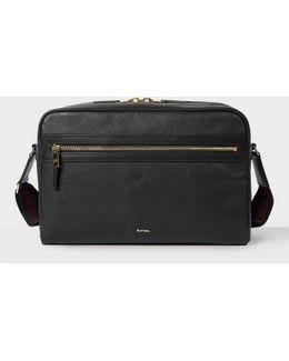 Men's Black Leather 'city Webbing' Cross-body Bag