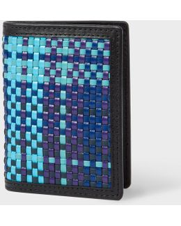 Men's Blue Woven Check Credit Card Wallet