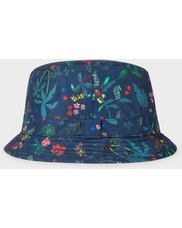Men's Navy 'botanical Jungle' Print Swim Bucket Hat