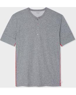 Men's Grey Jersey Short Sleeve Henley Top
