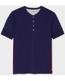Men's Navy Jersey Short Sleeve Henley Top