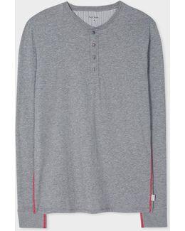 Men's Grey Jersey Henley Top