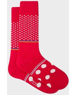 Men's Red Diamond And Polka Dot Block Socks