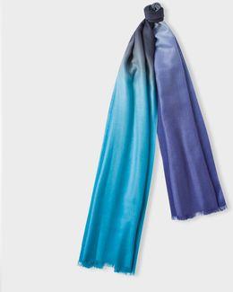 Men's Navy, Purple And Teal Dip-dye Herringbone Cashmere Scarf