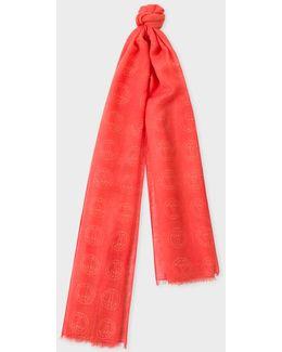 Men's Burnt Orange 'peace Sign' Wool Scarf
