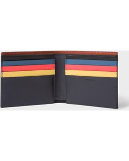 Men's Navy Leather Colour Band Interior Billfold Wallet