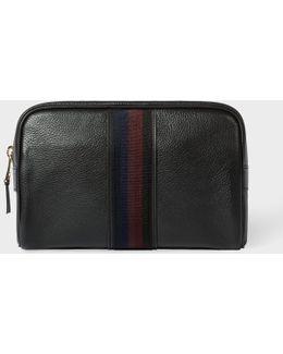 Men's Black Leather 'city Webbing' Wash Bag