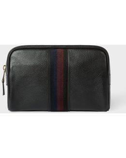 Men's Black Leather 'city Webbing' Wash Bag