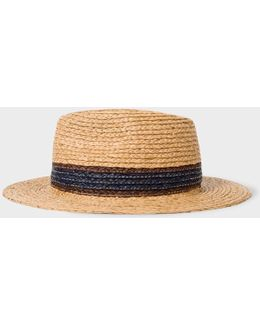 Men's Aran Raffia Straw Fedora Hat